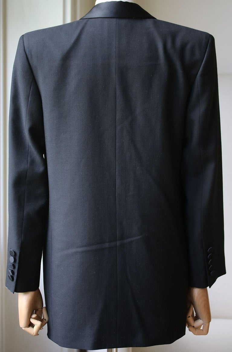 Saint Laurent Satin-Trimmed Wool Gabardine Tuxedo Jacket In Excellent Condition For Sale In London, GB