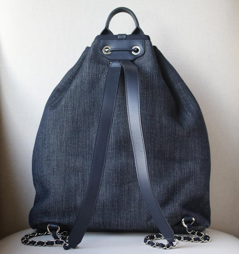 9b734b605d8b Chanel Deauville Canvas Drawstring Backpack In New Condition For Sale In  London