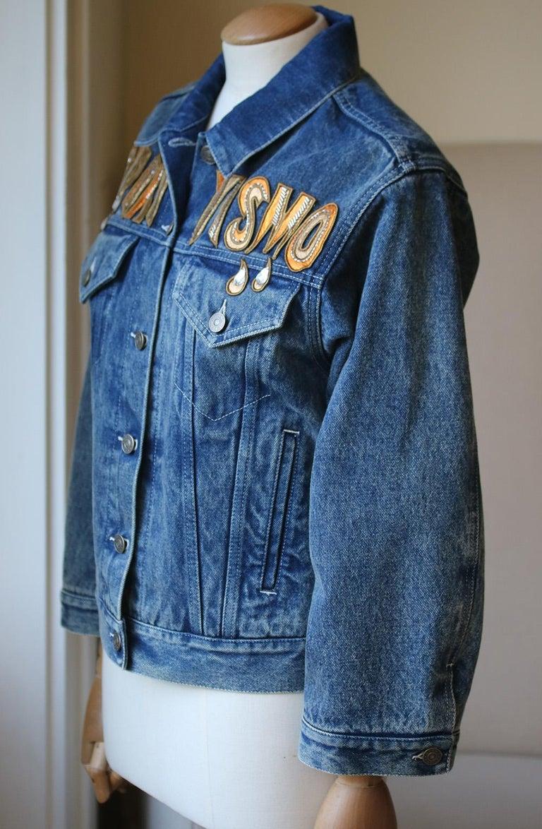 b6711de8f Gray Gucci Oversized Embellished Appliquéd Denim Jacket For Sale