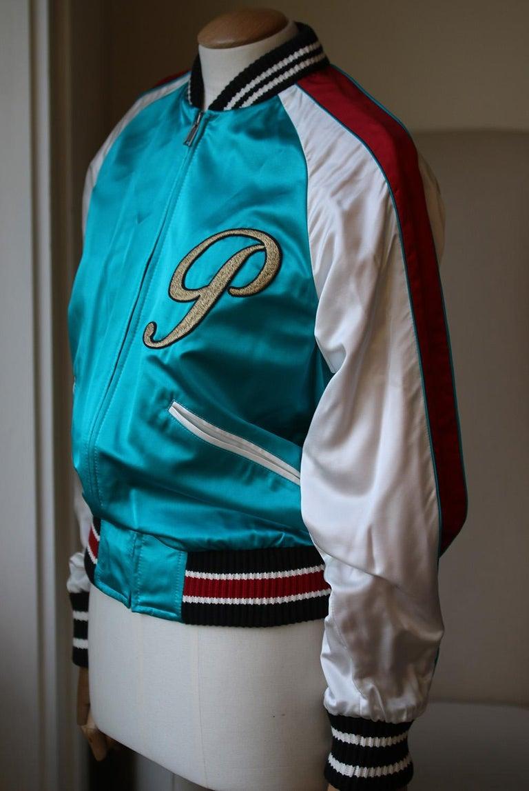 Gray Gucci DIY Appliquéd Silk-Satin Bomber Jacket For Sale