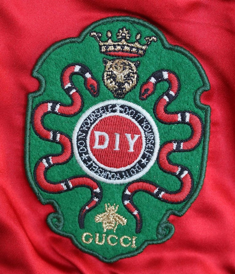 Women's Gucci DIY Appliquéd Silk-Satin Bomber Jacket For Sale