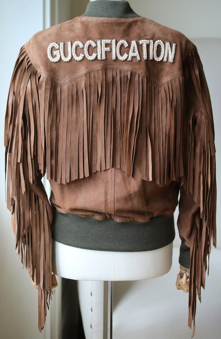 Gucci Suede Fringe Bomber Jacket  In Excellent Condition For Sale In London, GB