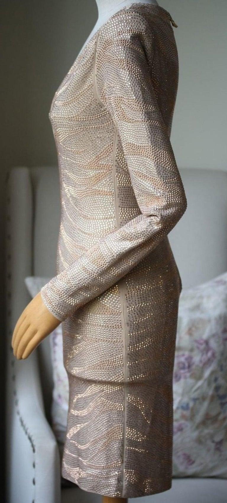 Brown Balmain Metallic Tiger Embellished Mini Dress For Sale
