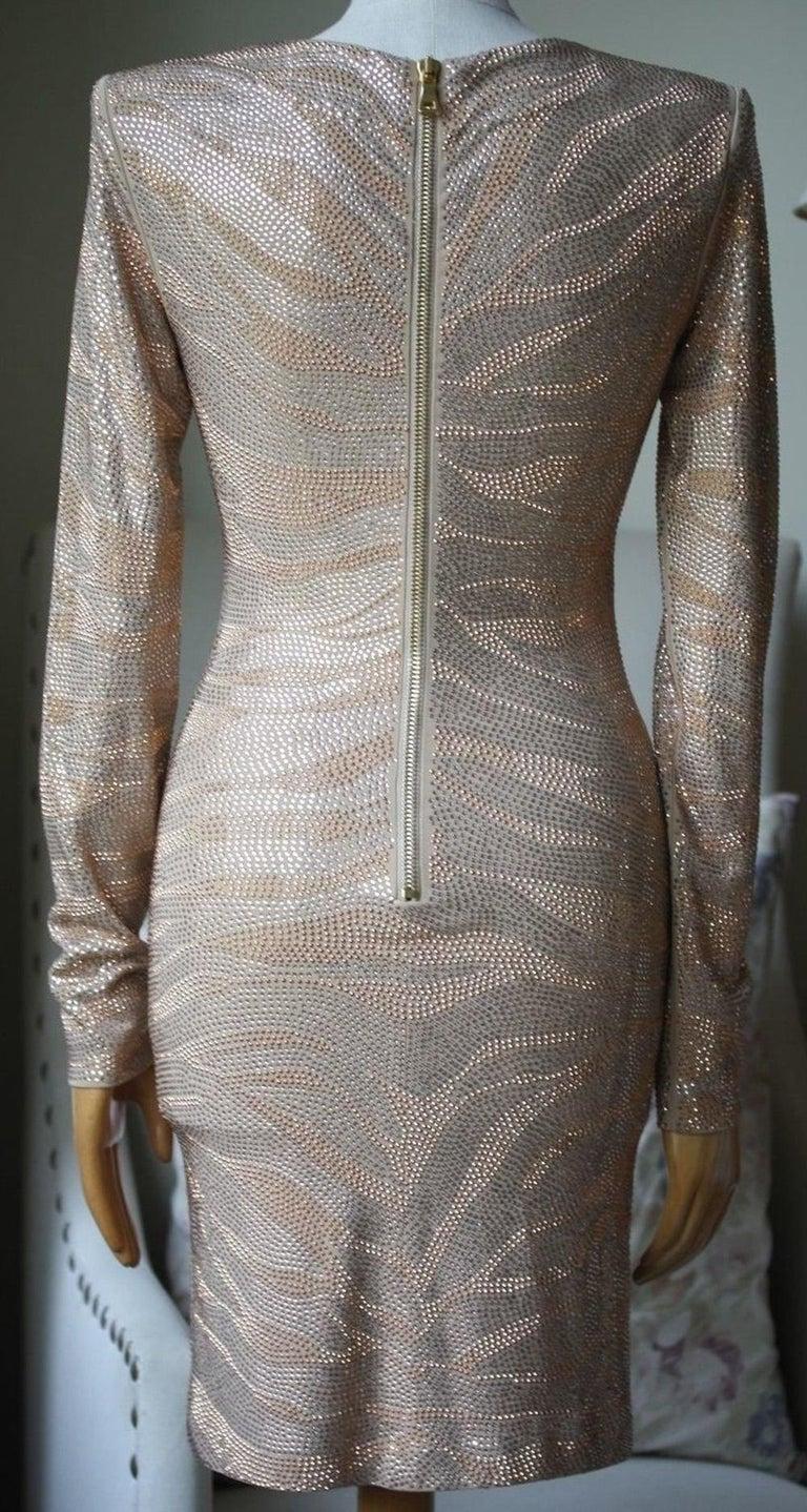 Women's Balmain Metallic Tiger Embellished Mini Dress For Sale