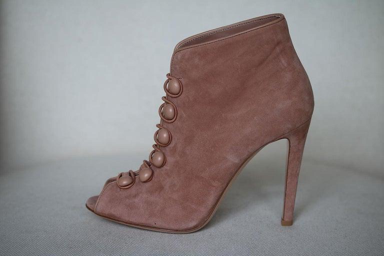Brown Gianvito Rossi Suede Button-Strap Peep-Toe Boots  For Sale