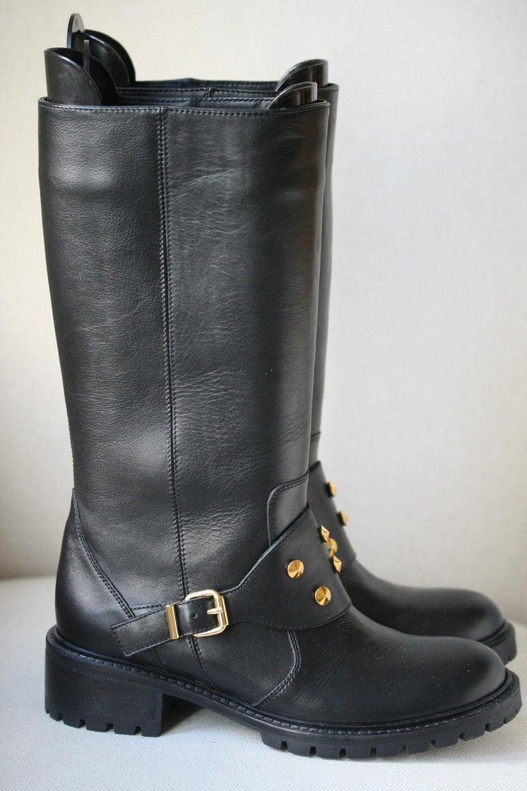 8e5dc48c8de Fendi Spiked Leather Biker Boots