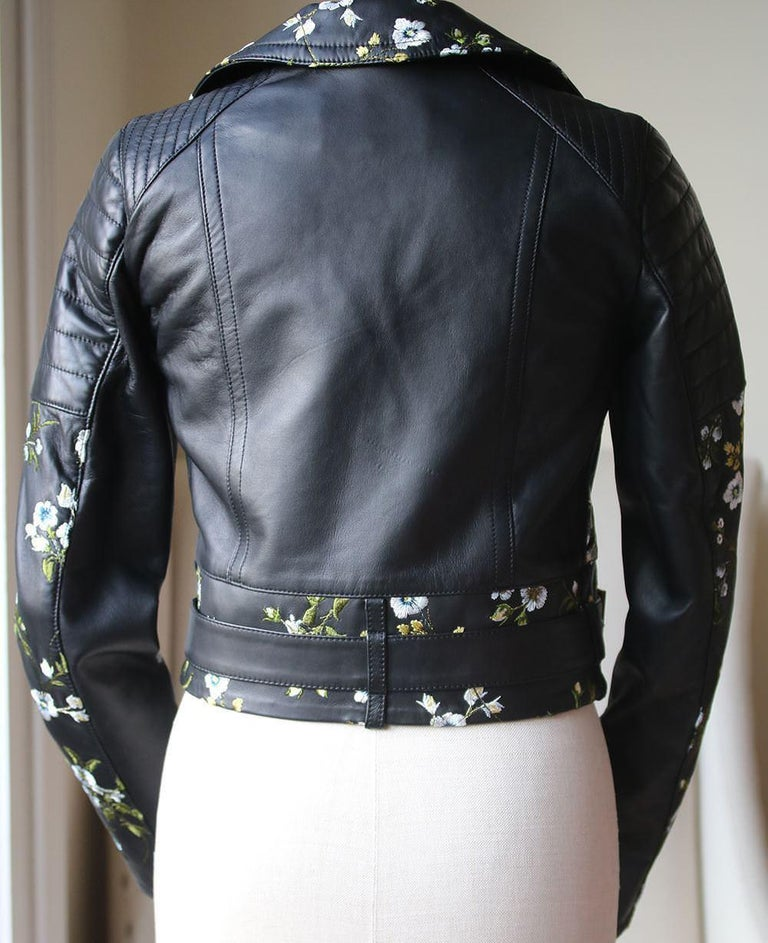Erdem Frazey Floral Embroidered Leather Biker Jacket In Excellent Condition For Sale In London, GB