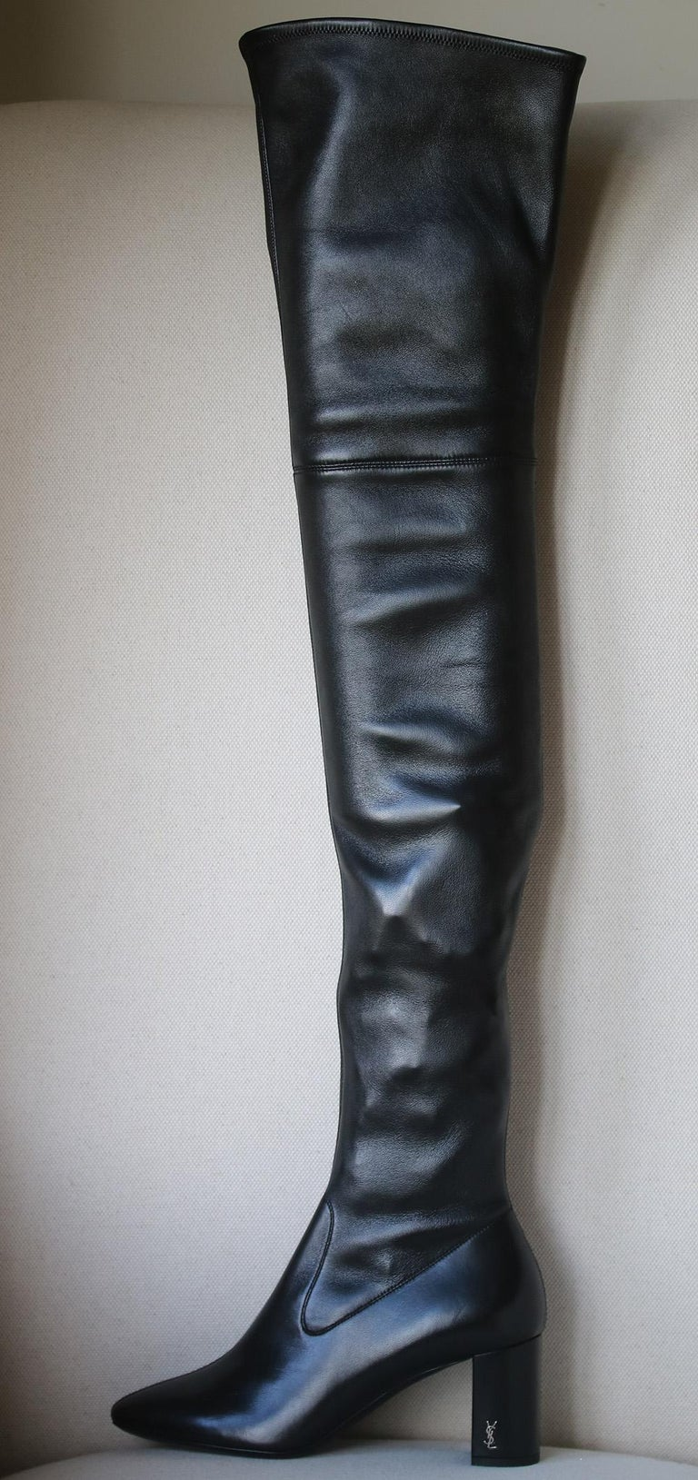 79513e51759 Black Saint Laurent Loulou Leather Over-The-Knee Boots For Sale