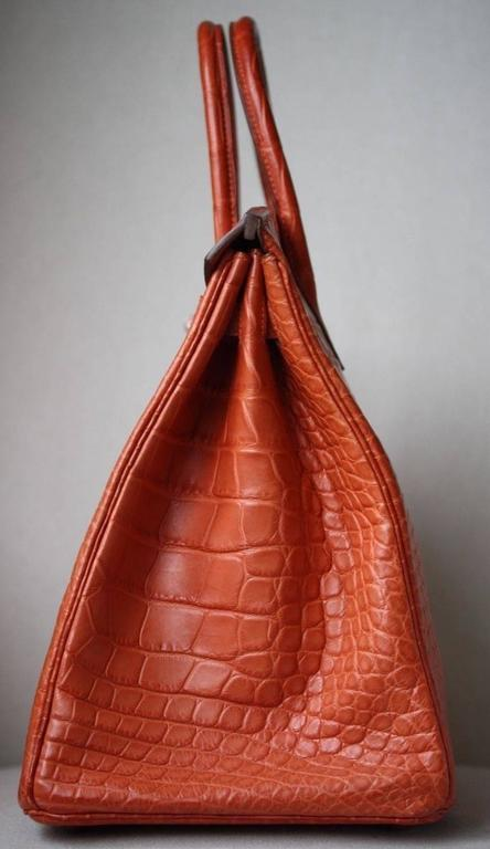 Women's or Men's Hermès 40CM Matte Alligator Palladium H/W Birkin Bag  For Sale