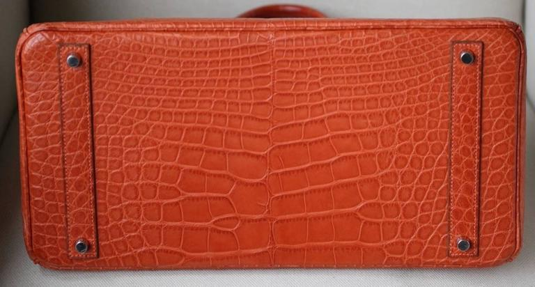 Hermès 40CM Matte Alligator Palladium H/W Birkin Bag  For Sale 5