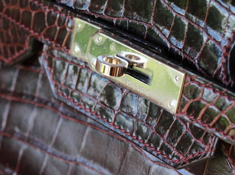 108de81a03 Hermès 35CM Burgundy Porosus Crocodile Palladium H W Birkin Bag For Sale 1