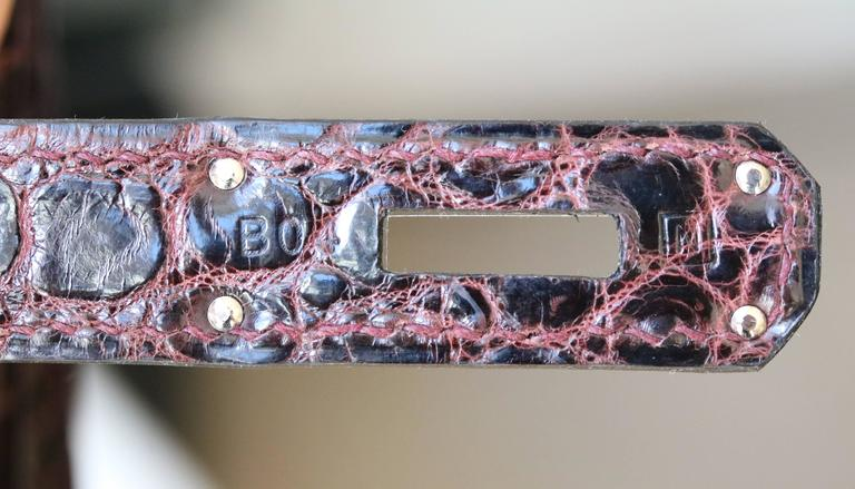 1d56bb2897 Hermès 35CM Burgundy Porosus Crocodile Palladium H W Birkin Bag For Sale 2