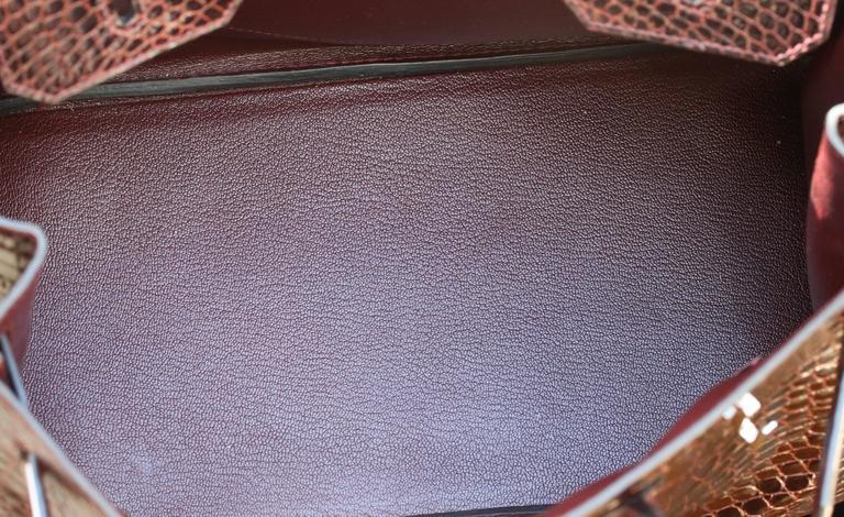 1c715f8a96 Hermès 35CM Burgundy Porosus Crocodile Palladium H W Birkin Bag For Sale 5