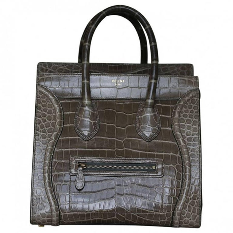 739f586b8a Céline Khaki Crocodile Luggage Bag With Gold H W For Sale at 1stdibs