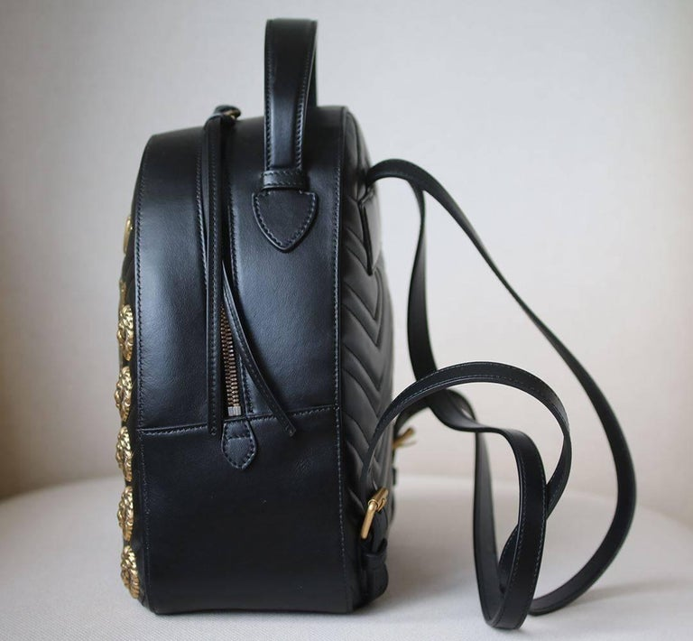 2205bd5de7656e Gucci GG Marmont Animal Studs Leather Backpack In Excellent Condition For  Sale In London, GB