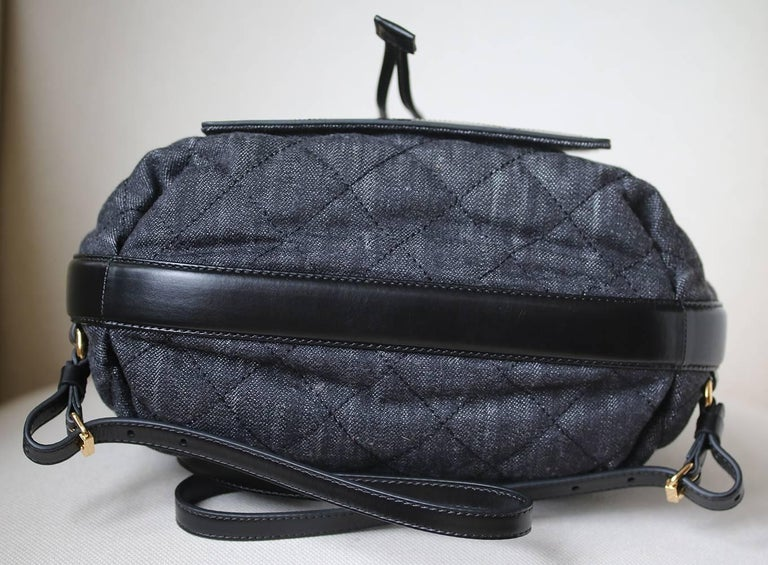 7c841a7d0aa98a Chanel Quilted Denim and Leather Backpack For Sale 3