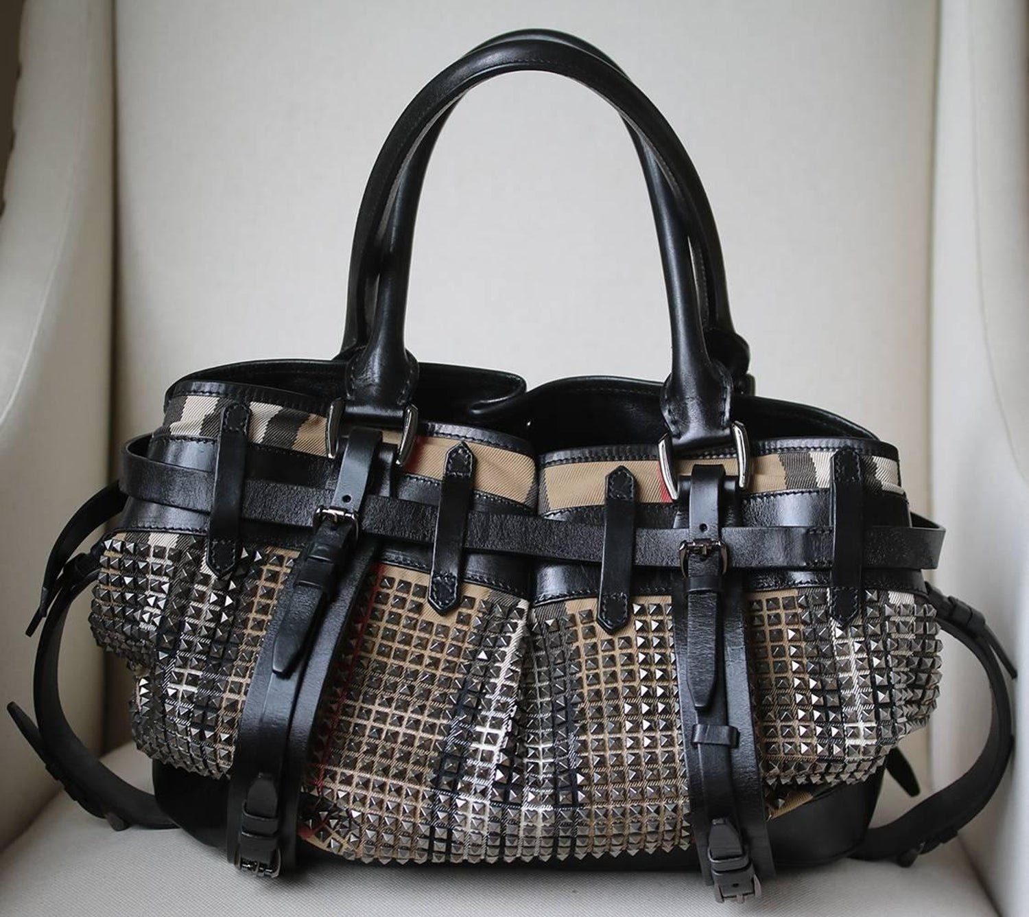 f4a9a621e478 Burberry Studded Classic Check Bag For Sale at 1stdibs