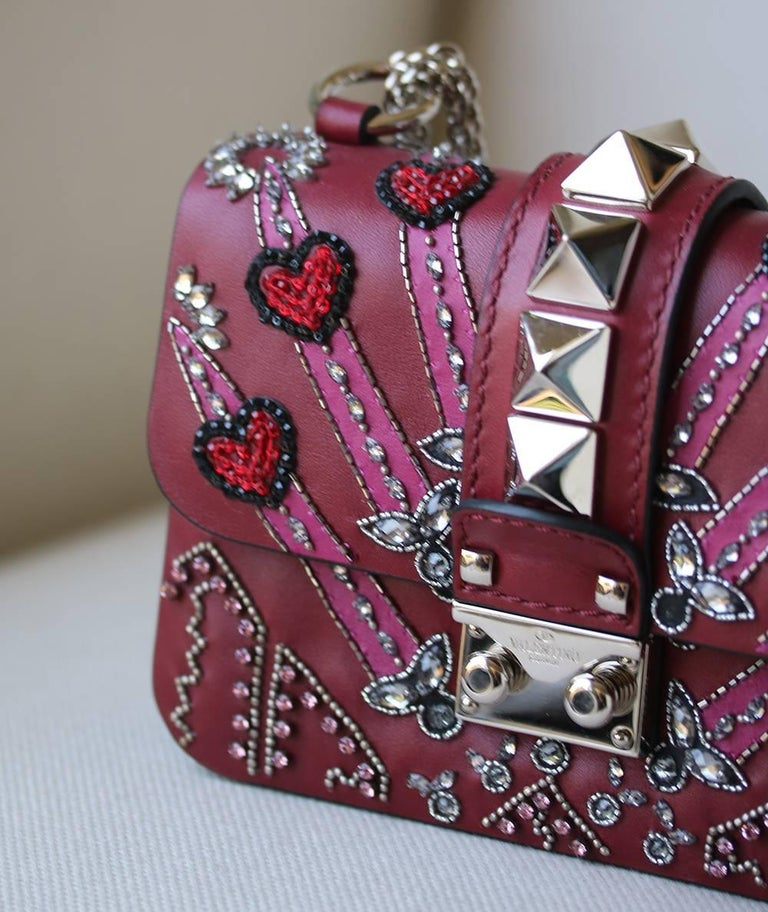 8be46d41490 Pink Valentino Rockstud Lock Mini Love Blade Embellished Shoulder Bag For  Sale