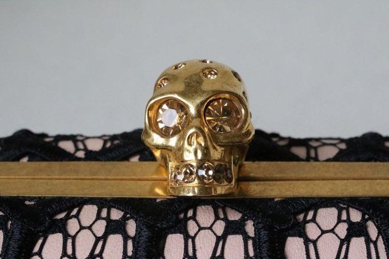 Black Alexander McQueen Honeycomb Skull Box Clutch  For Sale