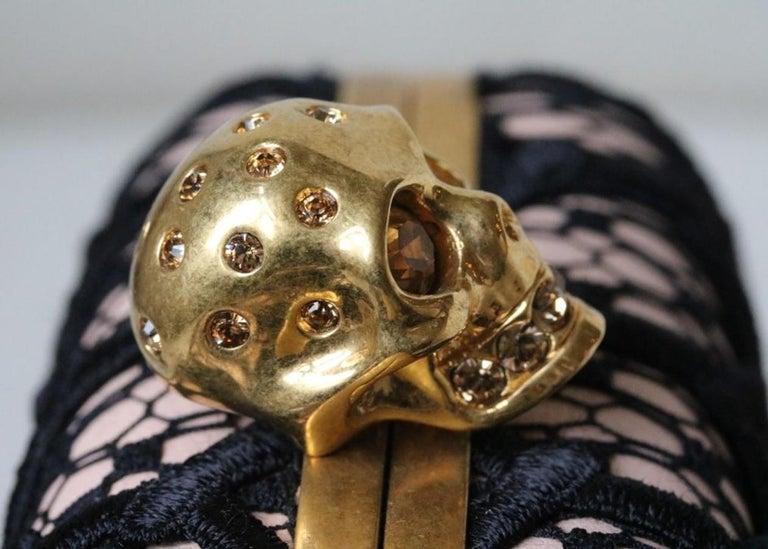 Alexander McQueen Honeycomb Skull Box Clutch  For Sale 1