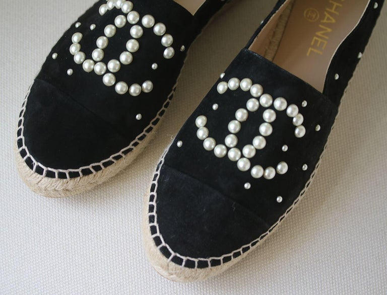5aeec07e5 Chanel Suede Pearl Embellished CC Espadrilles. Black. These espadrilles  have an upper of black