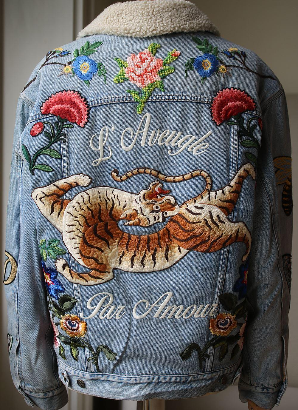 76bd52bea025 Gucci Shearling-Lined Embroidered Denim Jacket For Sale at 1stdibs