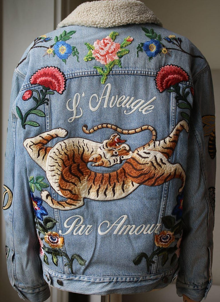 e1c797ab3099d Women s or Men s Gucci Shearling-Lined Embroidered Denim Jacket For Sale