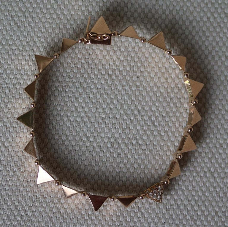 Anita Ko 14kt Rose Gold Medium Spike Bracelet With One Diamond In Excellent Condition For
