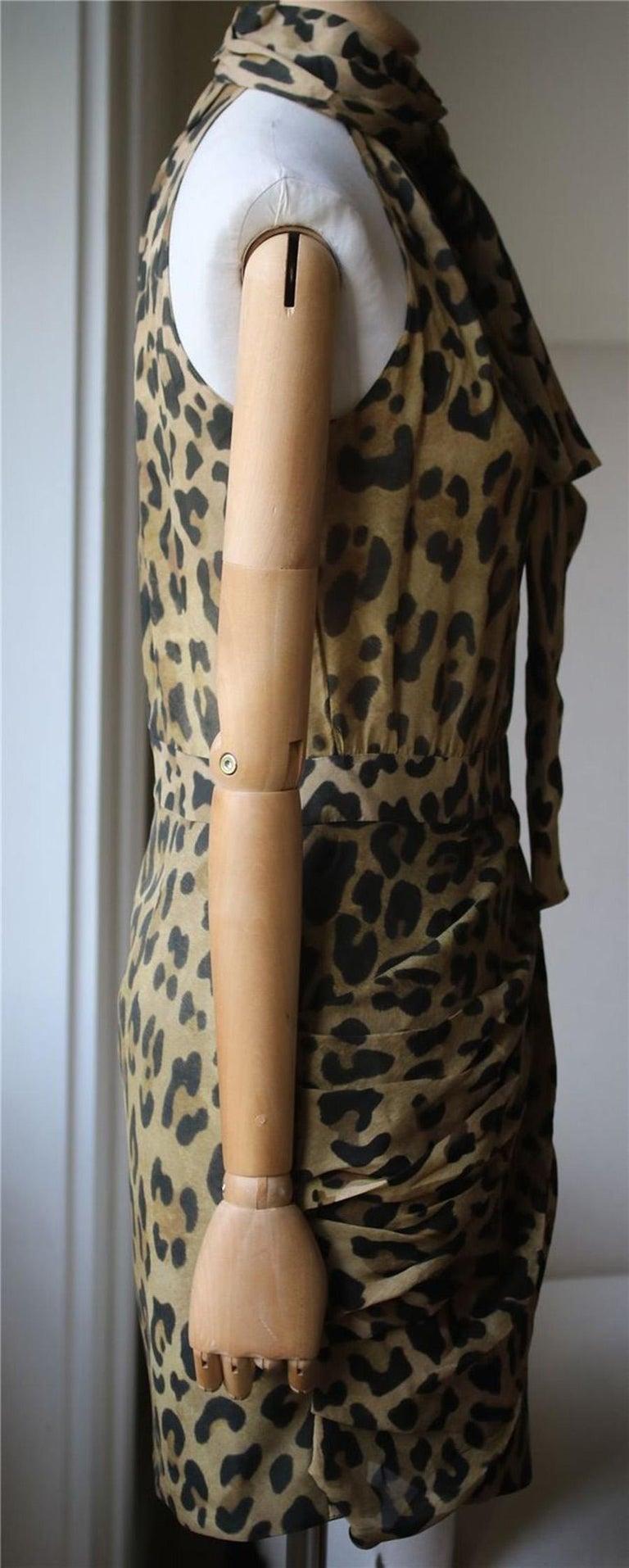 Brown Balmain Leopard-Print Silk Dress For Sale