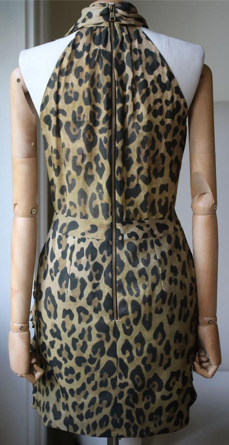 Balmain Leopard-Print Silk Dress In Excellent Condition For Sale In London, GB