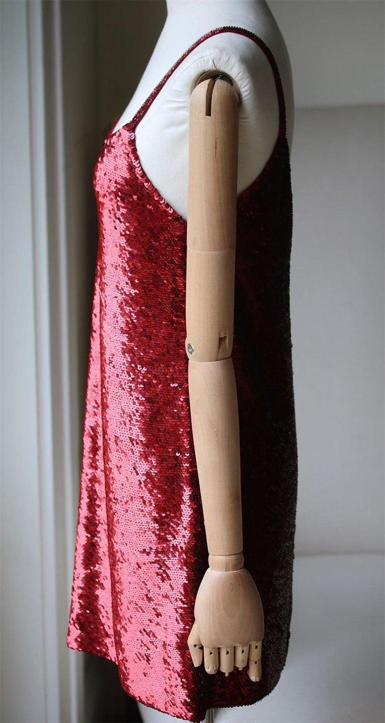 Red Ashish V-Neck Sequin-Embellished Mini Dress For Sale