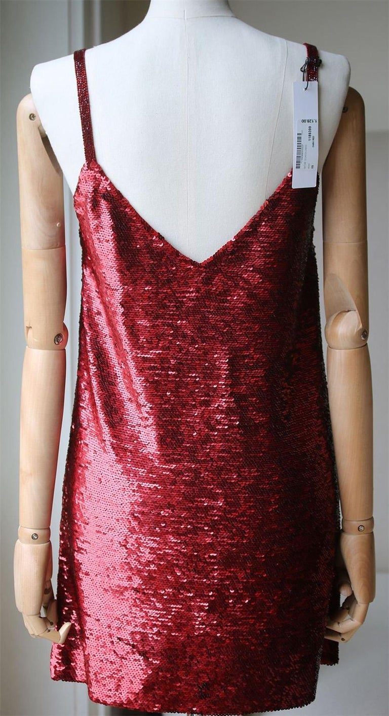 Ashish V-Neck Sequin-Embellished Mini Dress In New Condition For Sale In London, GB
