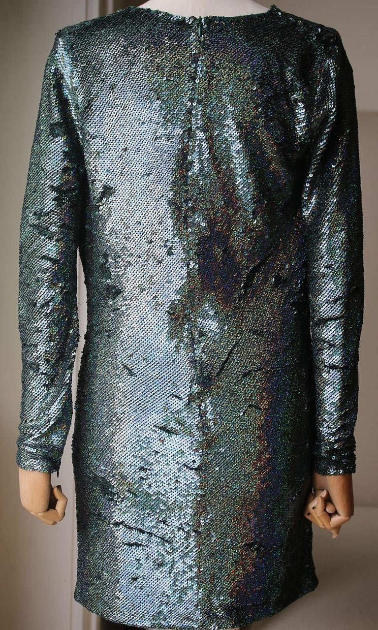 Ashish Sequin-Embellished Draped-Front Silk Mini Dress In Excellent Condition For Sale In London, GB