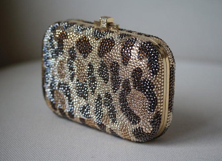 Brown Judith Leiber Leopard-Print Fine-Crystal Embellished Clutch For Sale