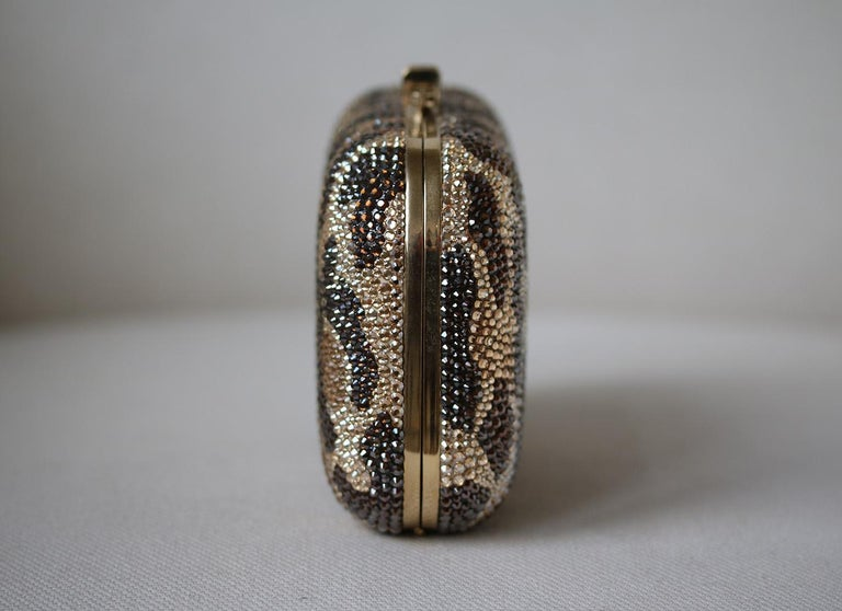 Judith Leiber Leopard-Print Fine-Crystal Embellished Clutch In Excellent Condition For Sale In London, GB