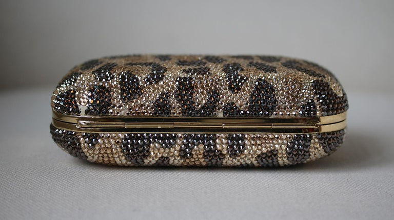 Women's Judith Leiber Leopard-Print Fine-Crystal Embellished Clutch For Sale