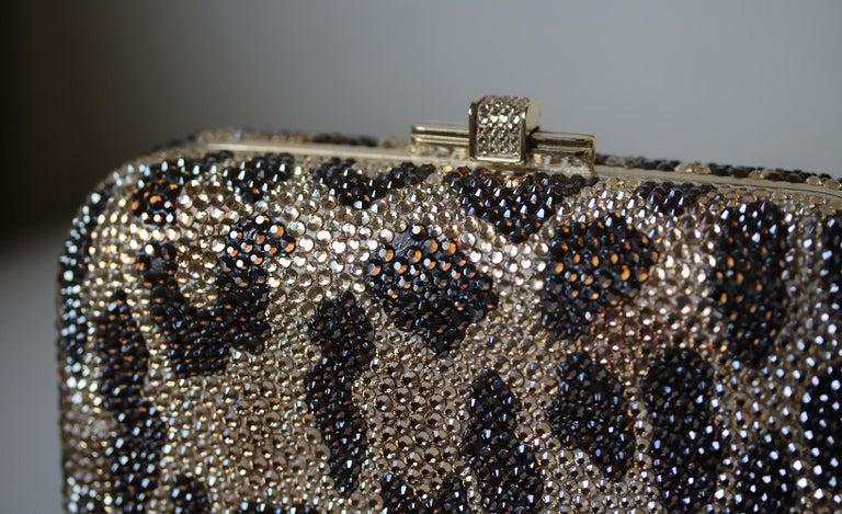 Judith Leiber Leopard-Print Fine-Crystal Embellished Clutch For Sale 1