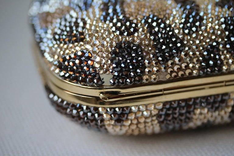 Judith Leiber Leopard-Print Fine-Crystal Embellished Clutch For Sale 2