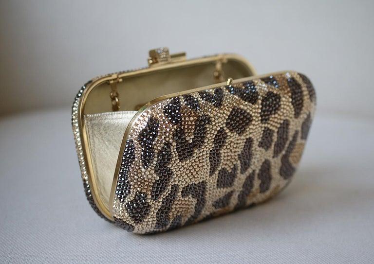Judith Leiber Leopard-Print Fine-Crystal Embellished Clutch For Sale 4