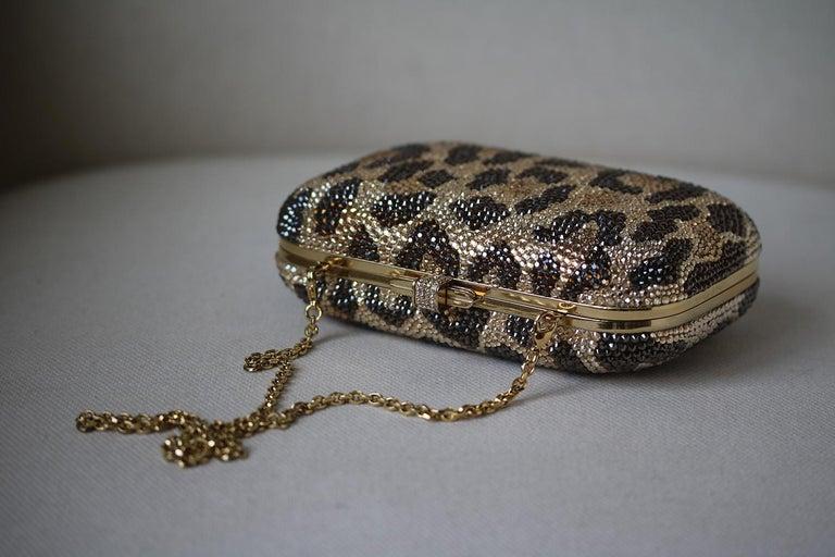 Judith Leiber Leopard-Print Fine-Crystal Embellished Clutch For Sale 6