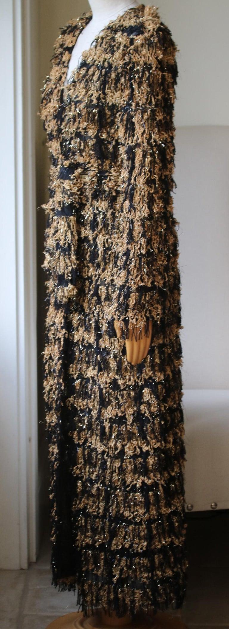 Black Balmain Metallic Tweed Fringe Long Cardigan For Sale
