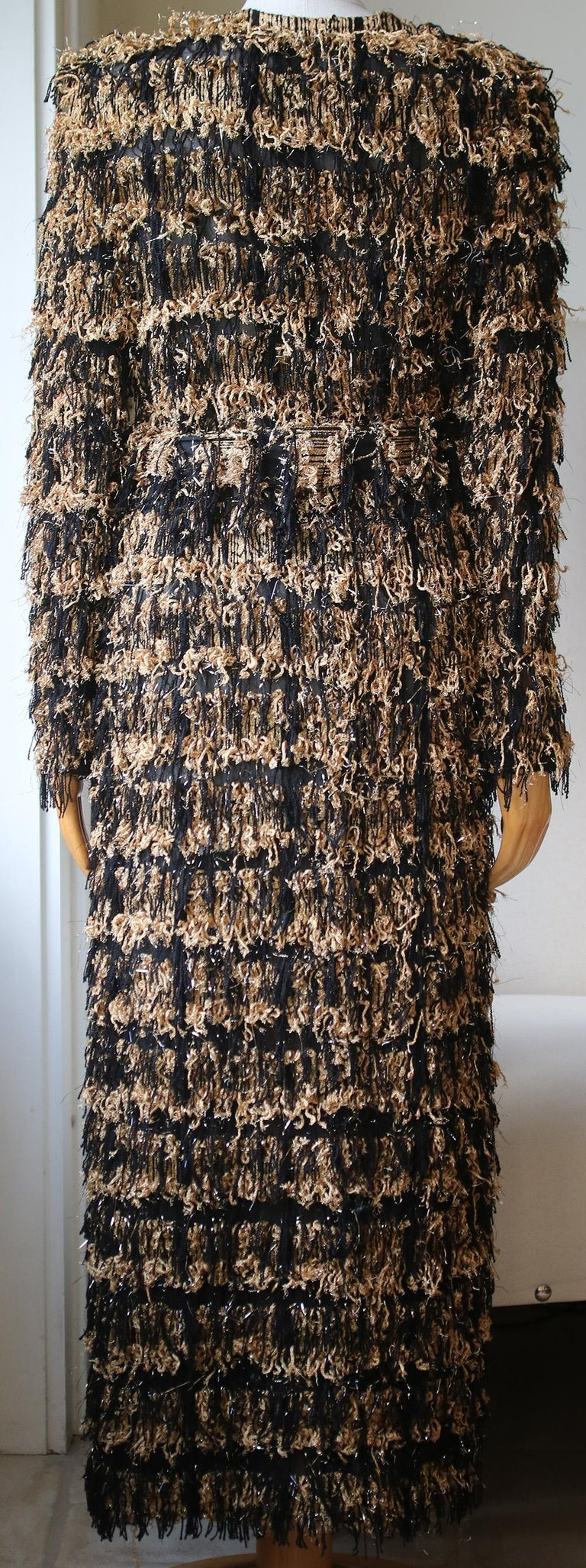 Balmain Metallic Tweed Fringe Long Cardigan In Excellent Condition For Sale In London, GB