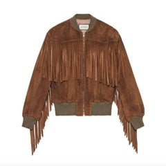 Gucci Suede Fringe Bomber Jacket