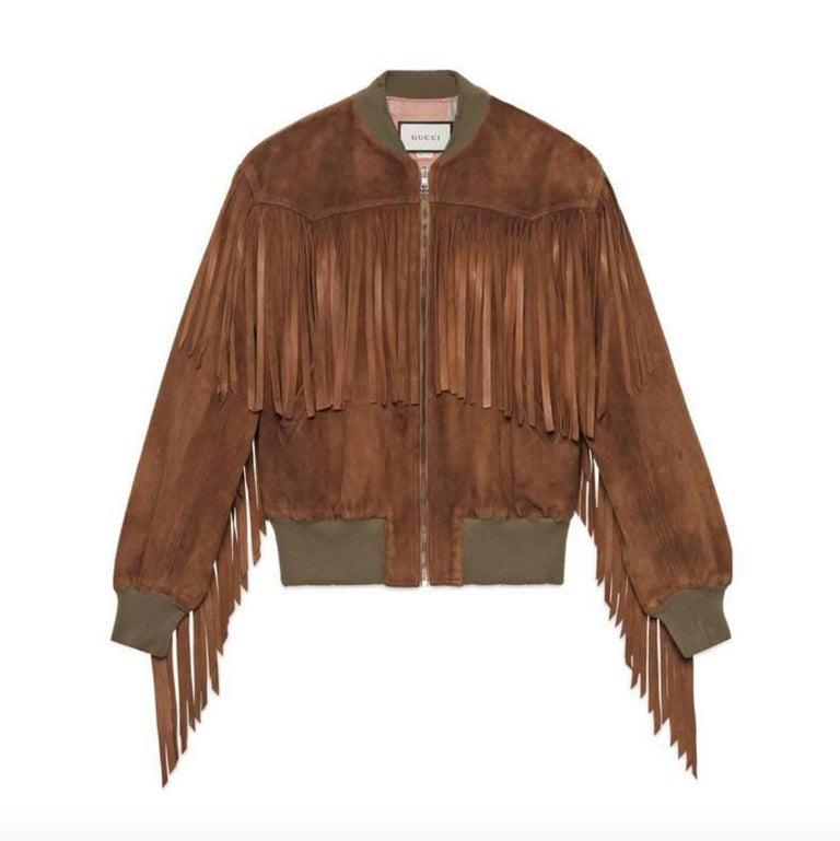 96e081d02 Gucci Suede Fringe Bomber Jacket For Sale at 1stdibs