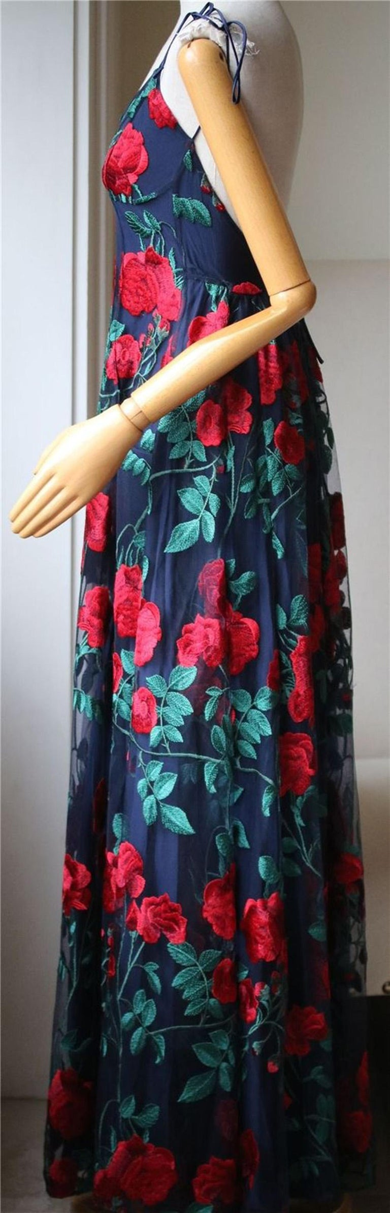 Adam Selman Rose Embroidered Tulle Gown  In Excellent Condition For Sale In London, GB