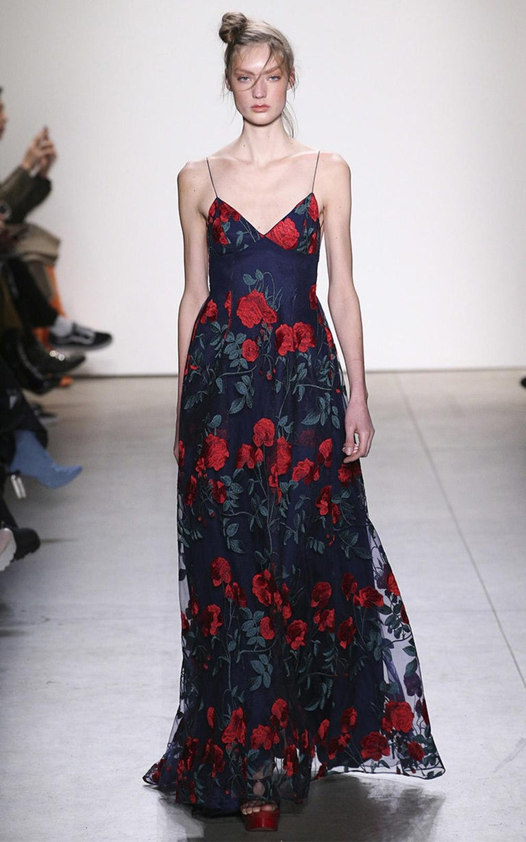 Adam Selman Rose Embroidered Tulle Gown  For Sale 3