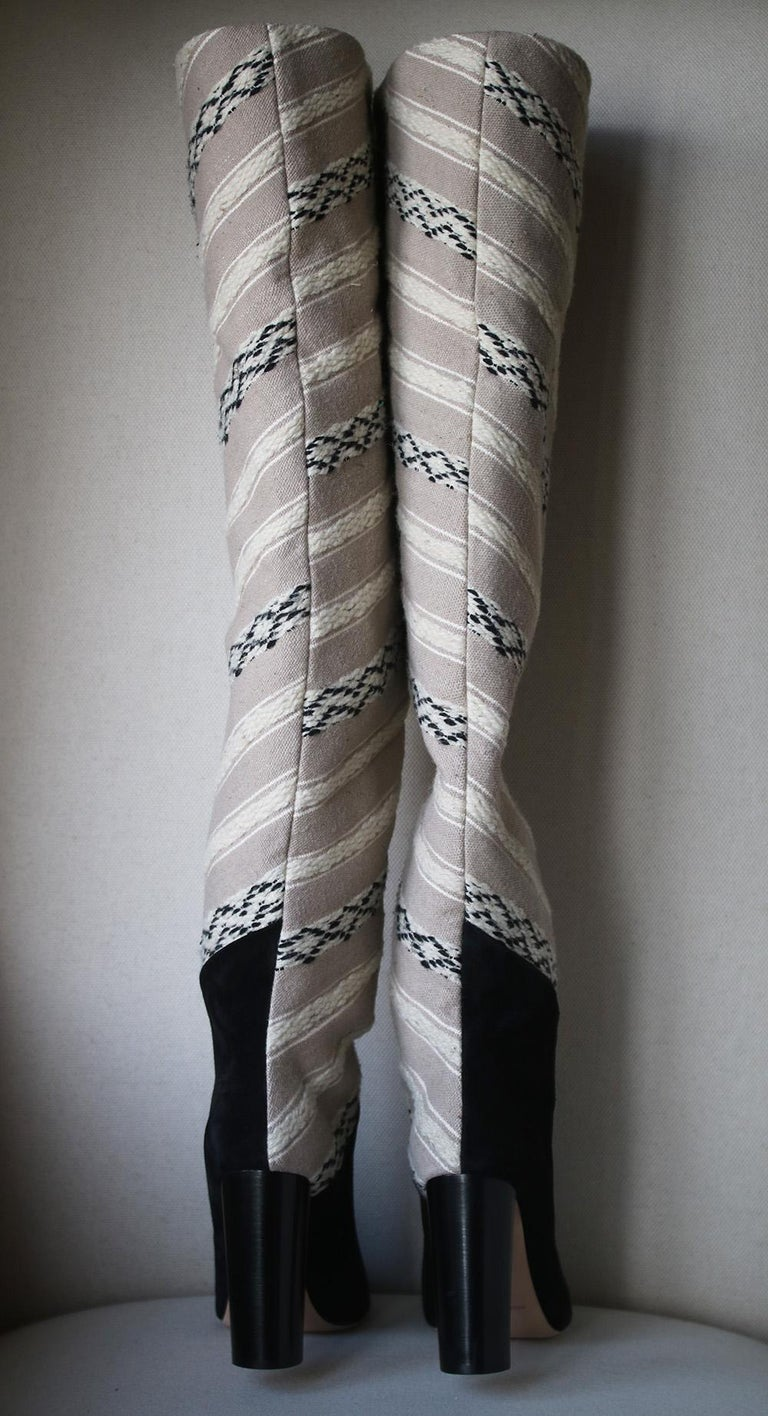 Saint Laurent Tanger 105 Ikat Over-The-Knee Boots In New Condition For Sale In London, GB