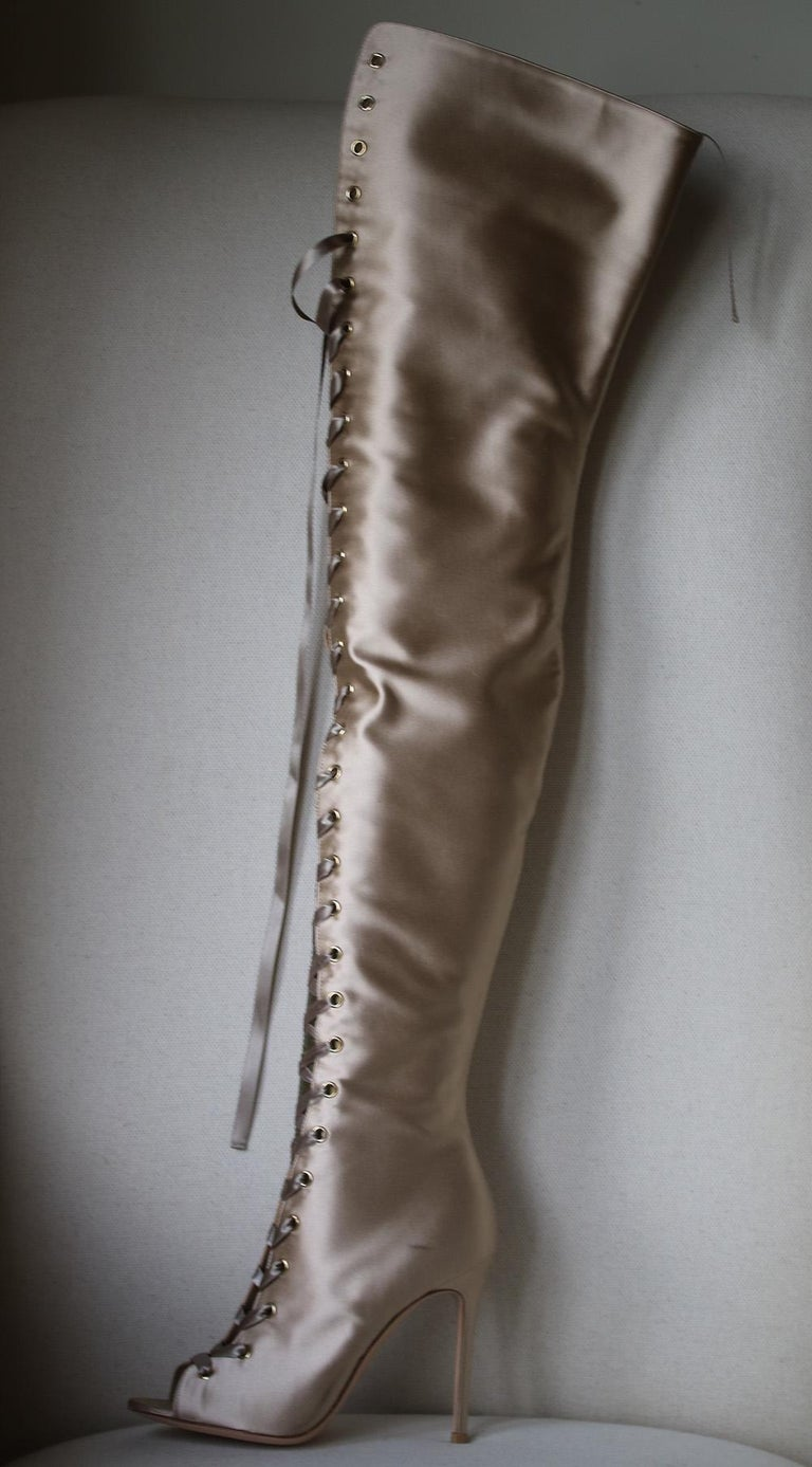 7106b9874ea Gianvito Rossi Marie Lace-Up Satin Over-The-Knee Boots For Sale at ...