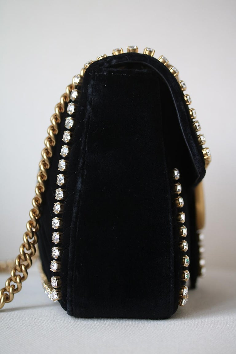 6633a0f62b867f Gucci GG Marmont Crystal Embellished Velvet Bag In Excellent Condition For  Sale In London, GB