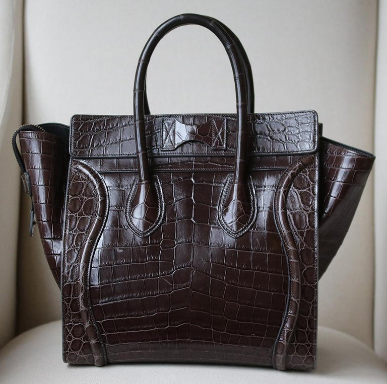 Black Céline Brown Crocodile Luggage Bag With Gold H/W For Sale